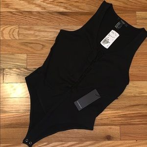 Ribbed lace-up tank bodysuit *NWT